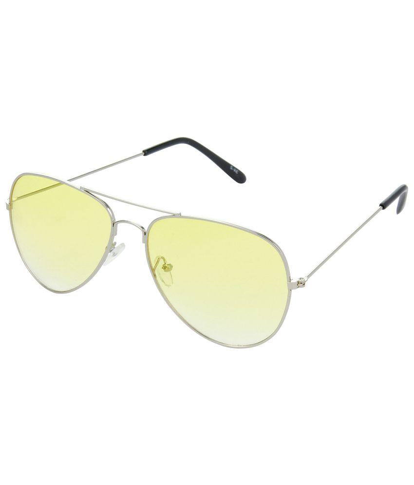 Hrinkar Yellow Medium Unisex Aviator Sunglasses