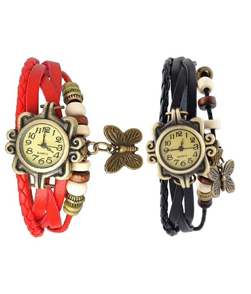 Pappi Boss Set of 2 Vintage Black & Red Leather Butterfly Bracelet Watch for Girls & Women - Combo Offer