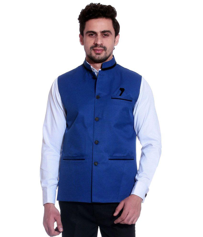 Calibro Blue Sleeveless Nehru Jacket