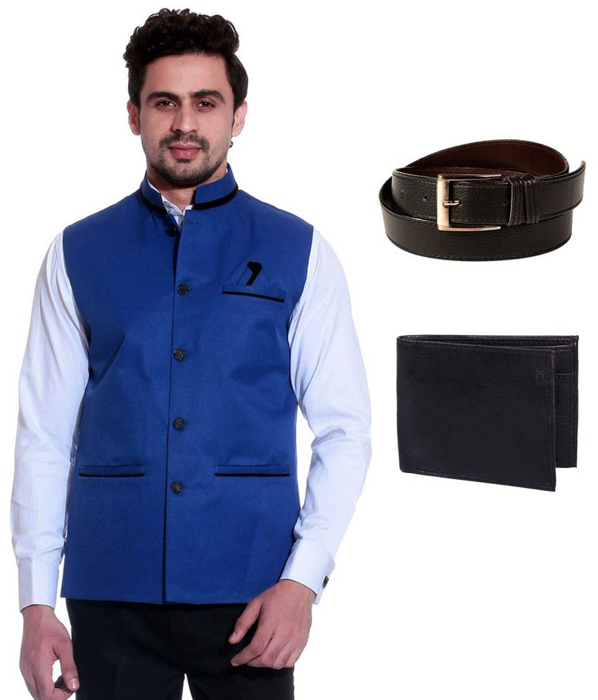 Calibro Blue Sleeveless Nehru Jacket with Belt and Wallet Combo