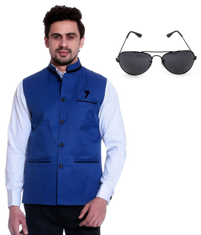 Calibro Blue Sleeveless Nehru Jacket with Sunglasses Combo