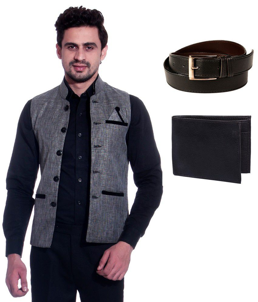 Calibro Grey Sleeveless Nehru Jacket with Belt and Wallet Combo