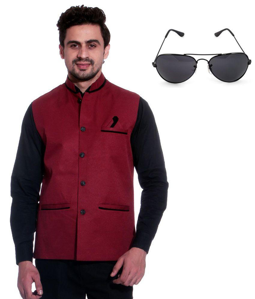 Calibro Maroon Sleeveless Nehru Jacket with Sunglasses Combo