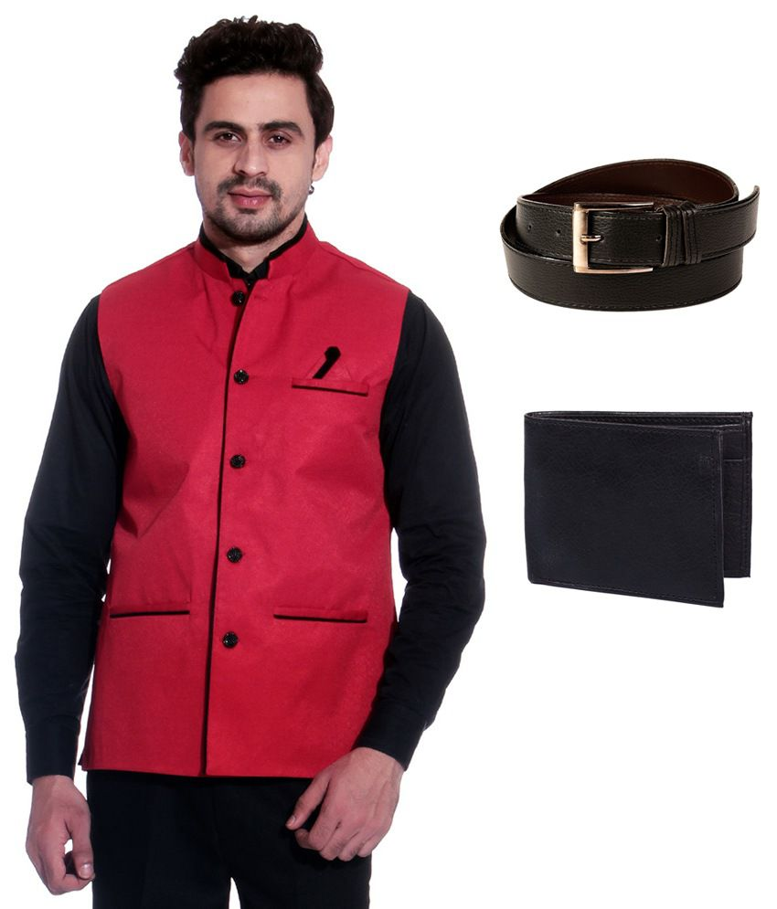 Calibro Red Sleeveless Nehru Jacket with Belt and Wallet Combo