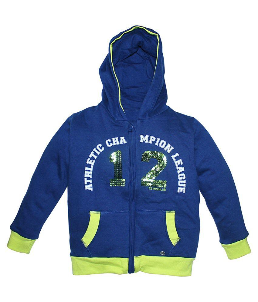 FS MiniKlub Blue Hooded Zippered Sweatshirt