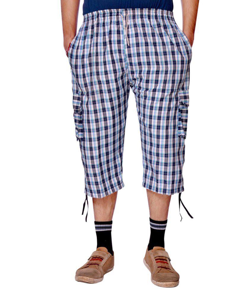 Aaduki Blue Cotton Check Three-Fourths