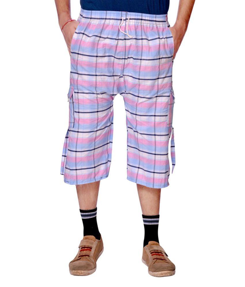 Aaduki Pink Cotton Check Three-Fourths