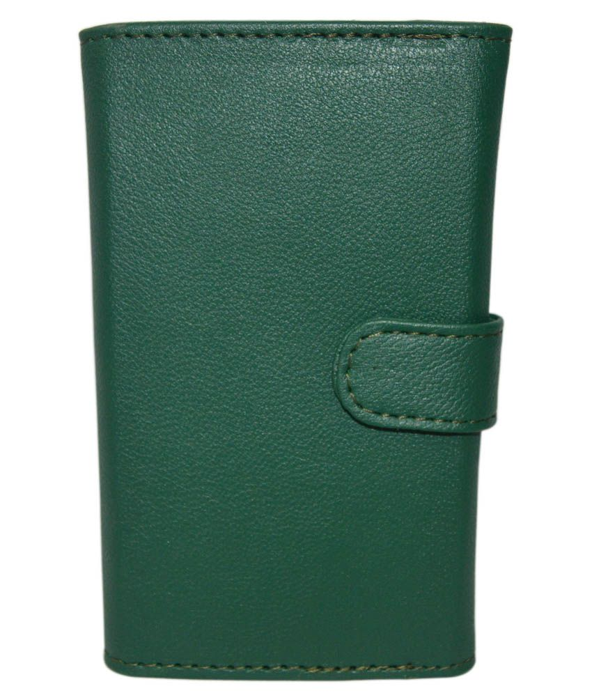 Indiacod Pu Leather Wallet Pouch With Cardholder For Panasonic T45 - Green