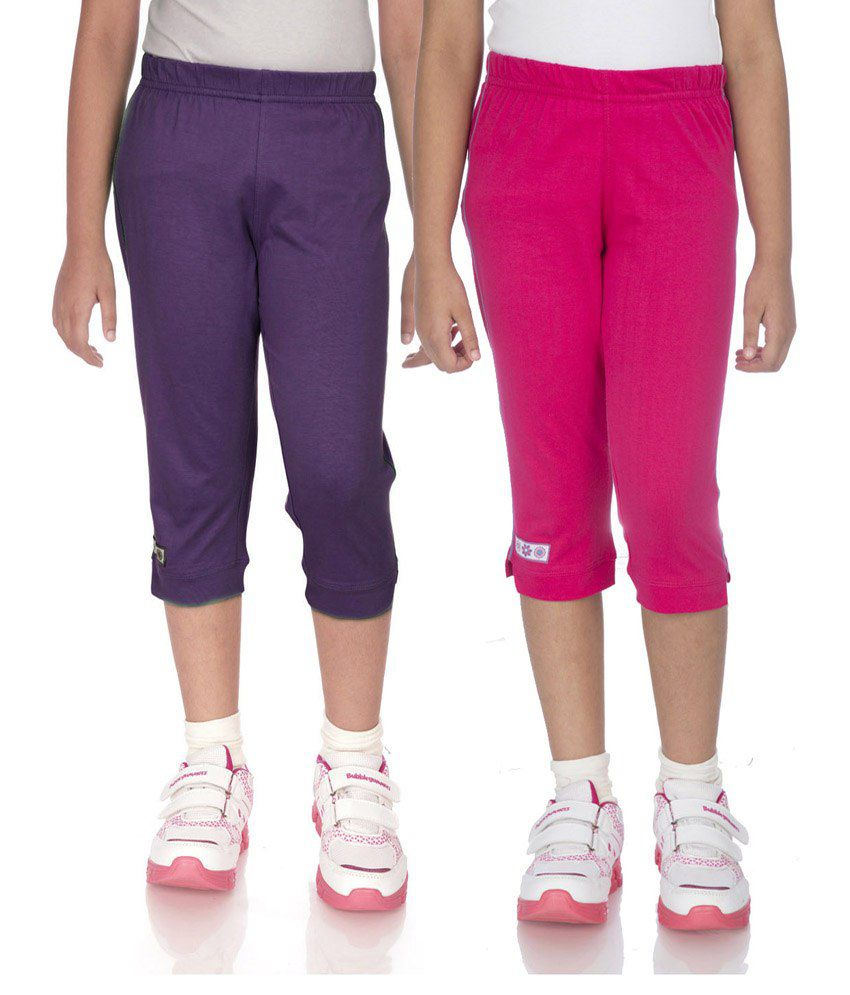 Ocean Race Purple & Pink Cotton Capri Set Of 2