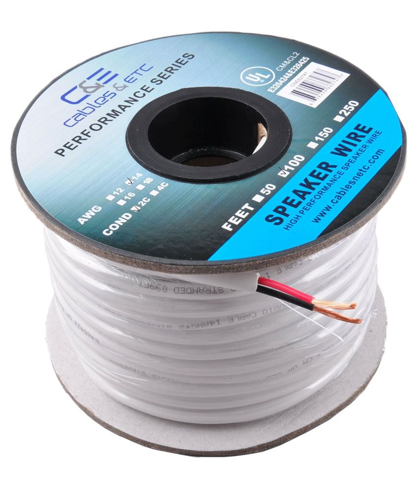 buy c e 100 feet 14awg cl2 rated 2 conductor loud speaker cable for in wall installation. Black Bedroom Furniture Sets. Home Design Ideas