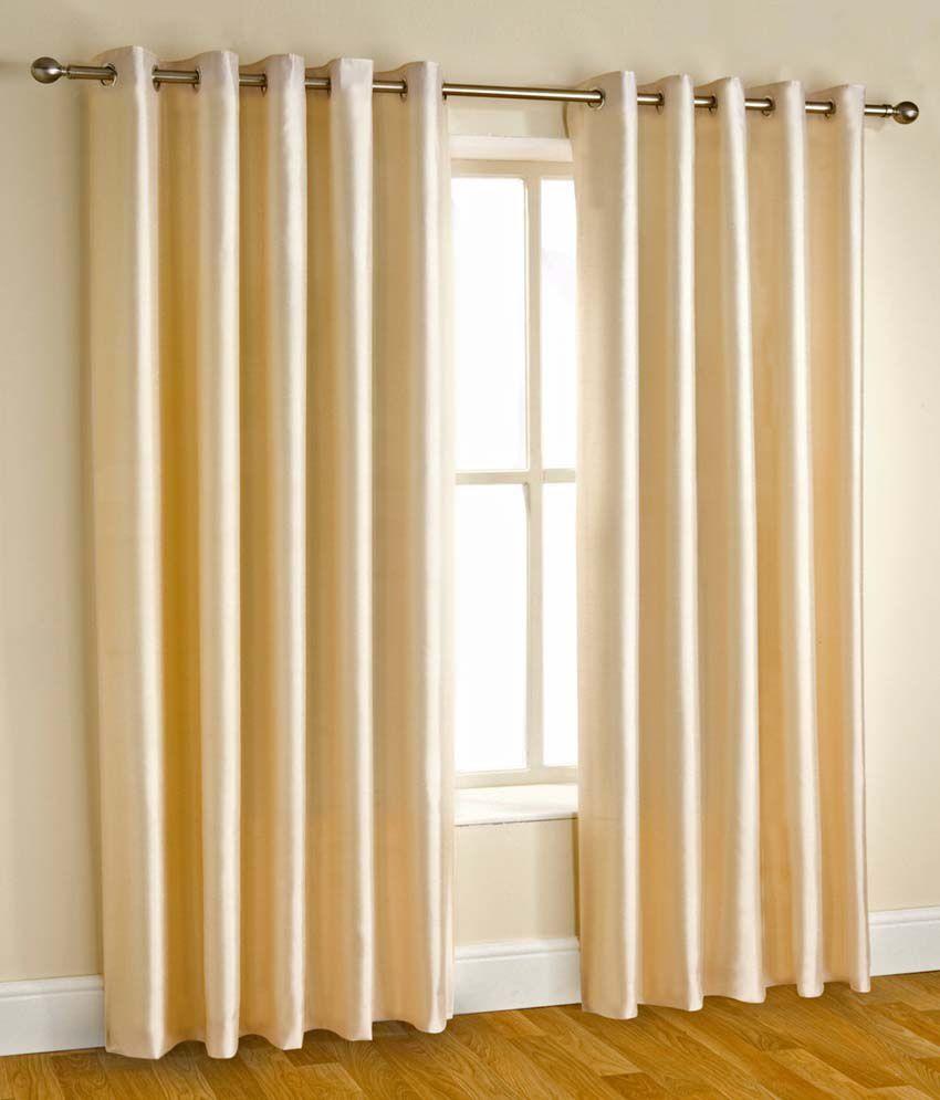 Tanishka Fabs Buy 2 Get 2 Door Eyelet Curtains Solid Beige