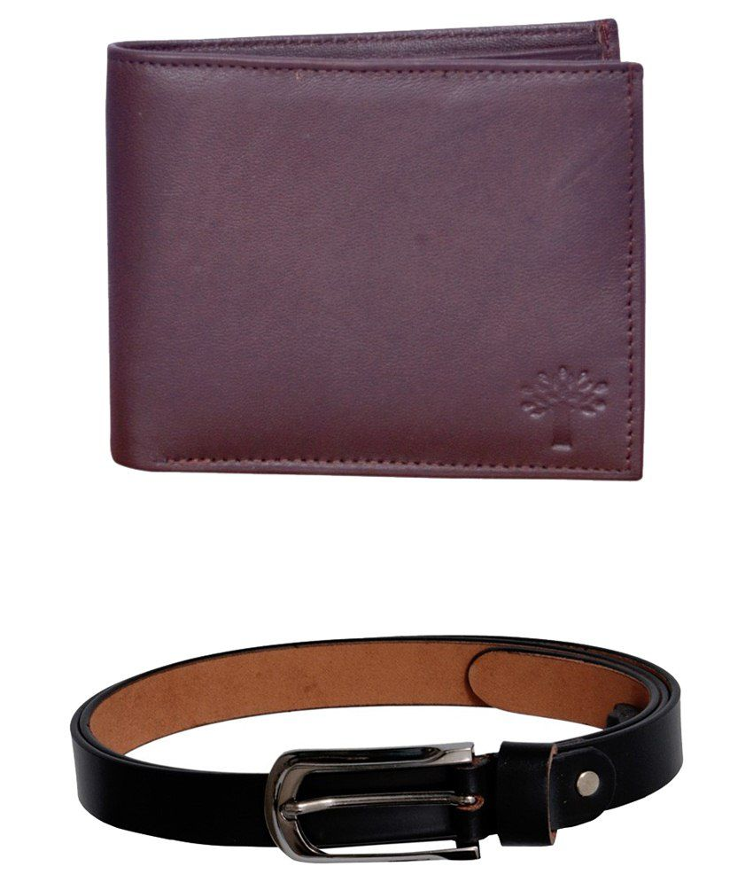Virgo  Combo of Black Mens Leather Woodland Wallet and Belt