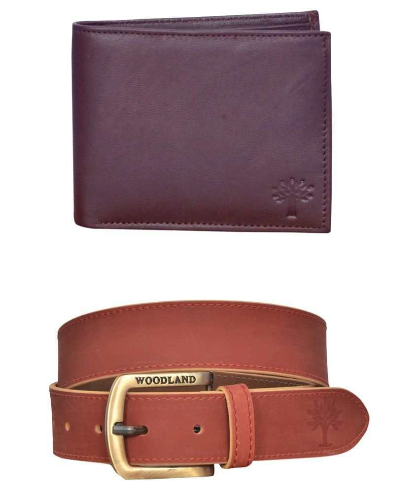 Virgo  Combo of Brown Mens Leather Woodland Wallet and Belt