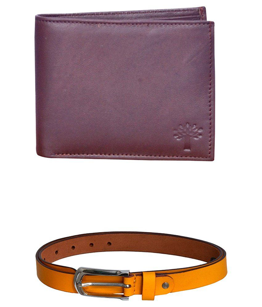 Virgo  Combo of Yellow Mens Leather Woodland Wallet and Belt