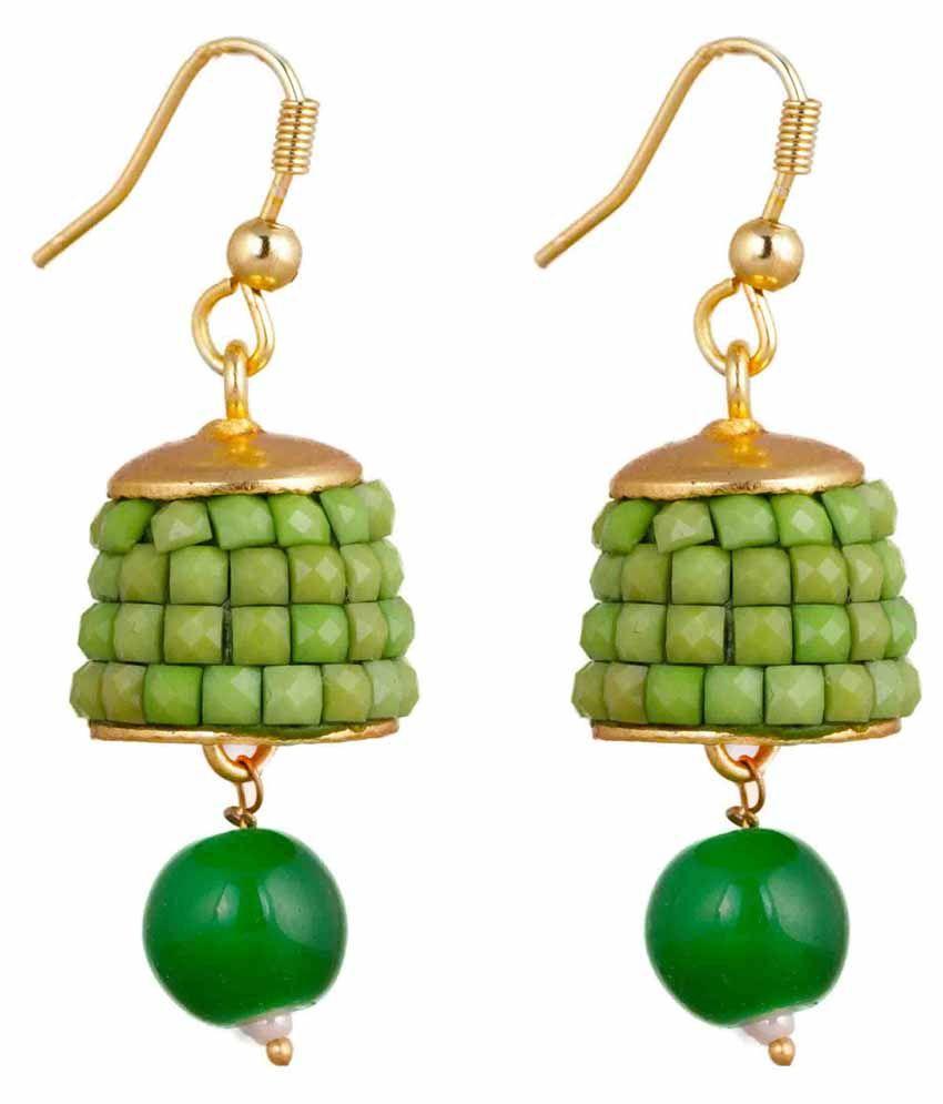 Makezak Green Brass Jhumkis