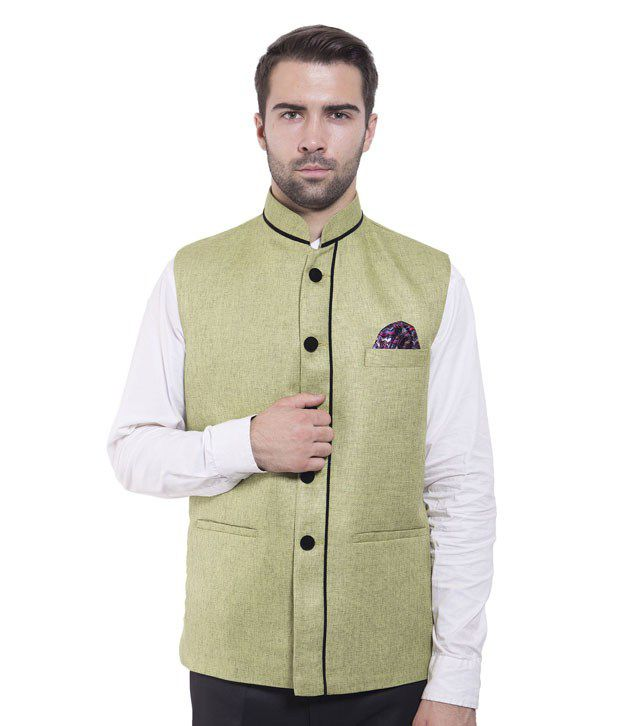 Wintage Green Rayon Waistcoats