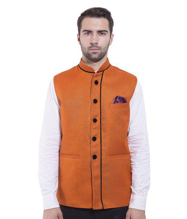 Wintage Orange Rayon Waistcoats