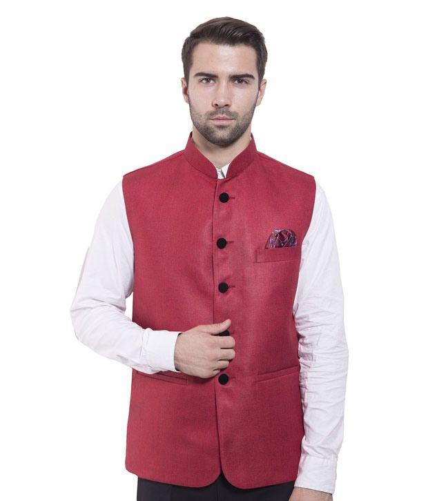 Wintage Red Rayon Waistcoats
