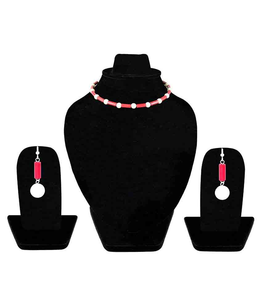 Kanchan's By Inlehaat Red Necklace Set