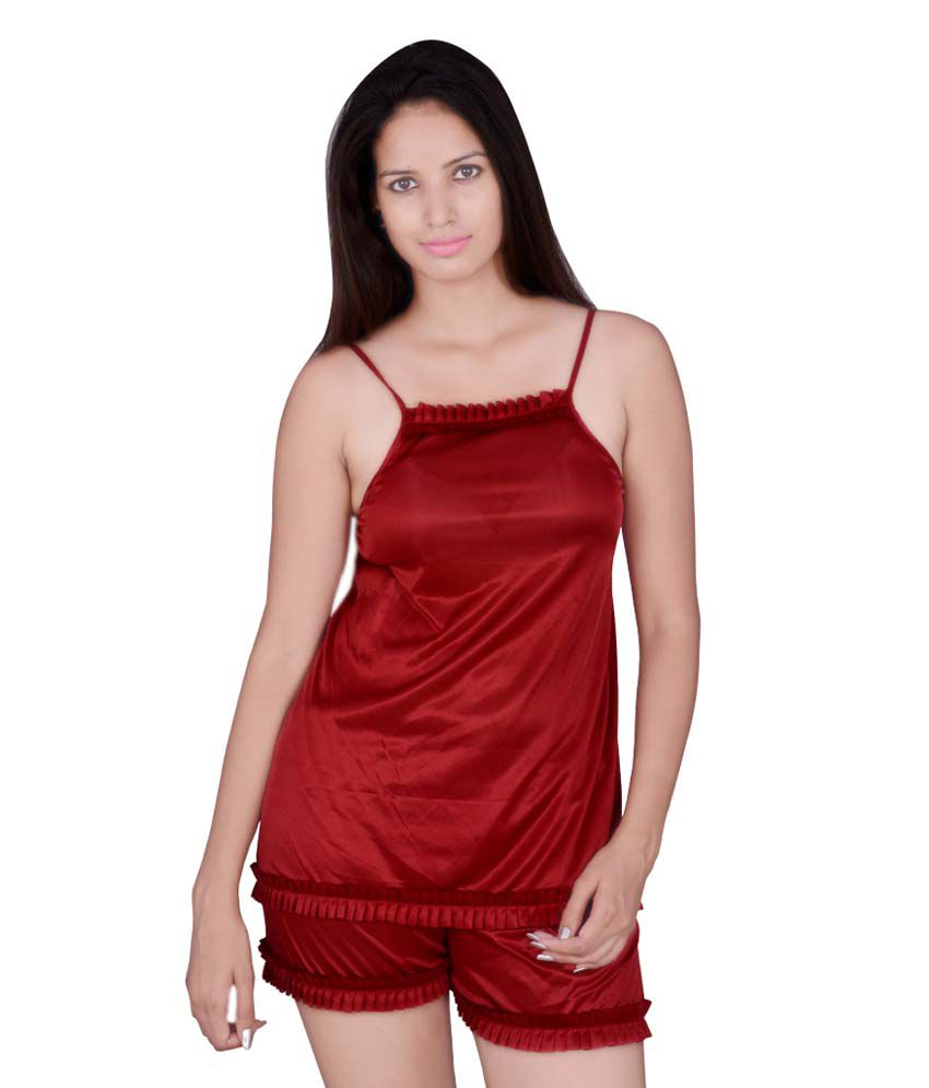 472ae2d9a0 Buy KANIKA Maroon Satin Nighty & Night Gown Online at Best Prices in India  - Snapdeal