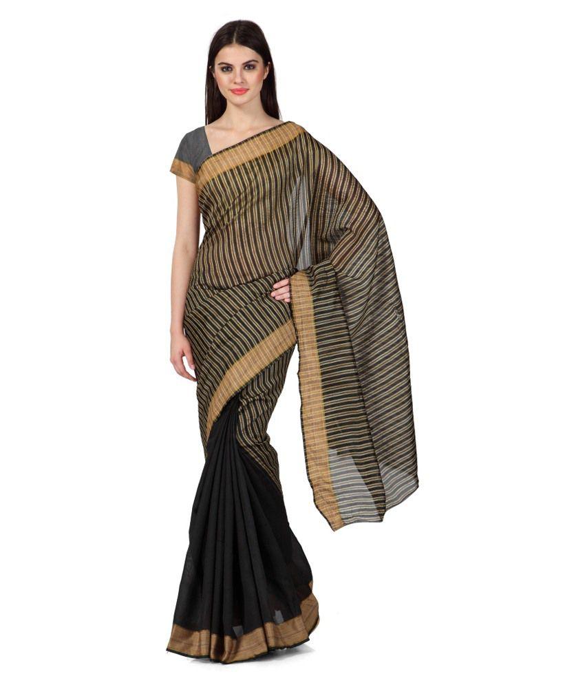 Sharnam Sarees Black Art Silk Saree