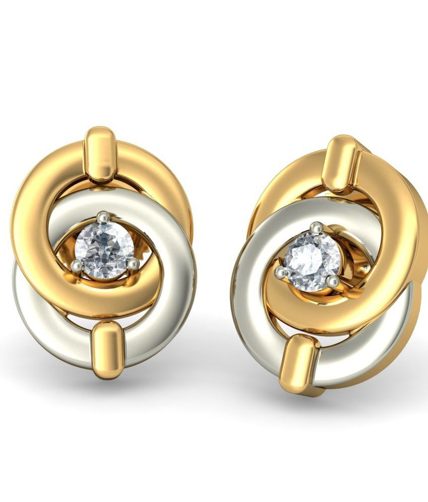 BlueStone 18 Kt Gold & Diamond Kivalo Stud Earrings