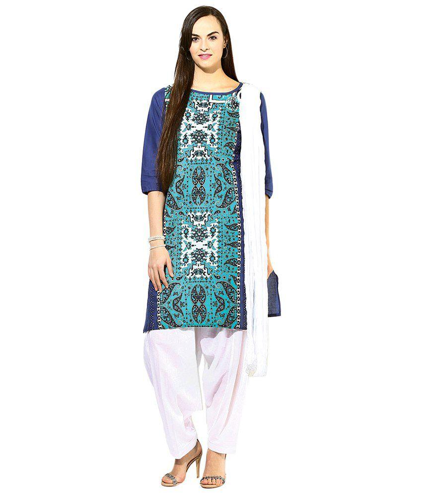 Jaipur Kurti Set of Blue & White Cotton Kurta, Patiala Salwar & Dupatta