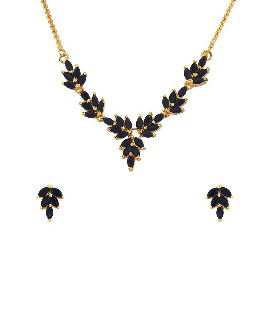 Kushi Blue Alloy Necklace Set