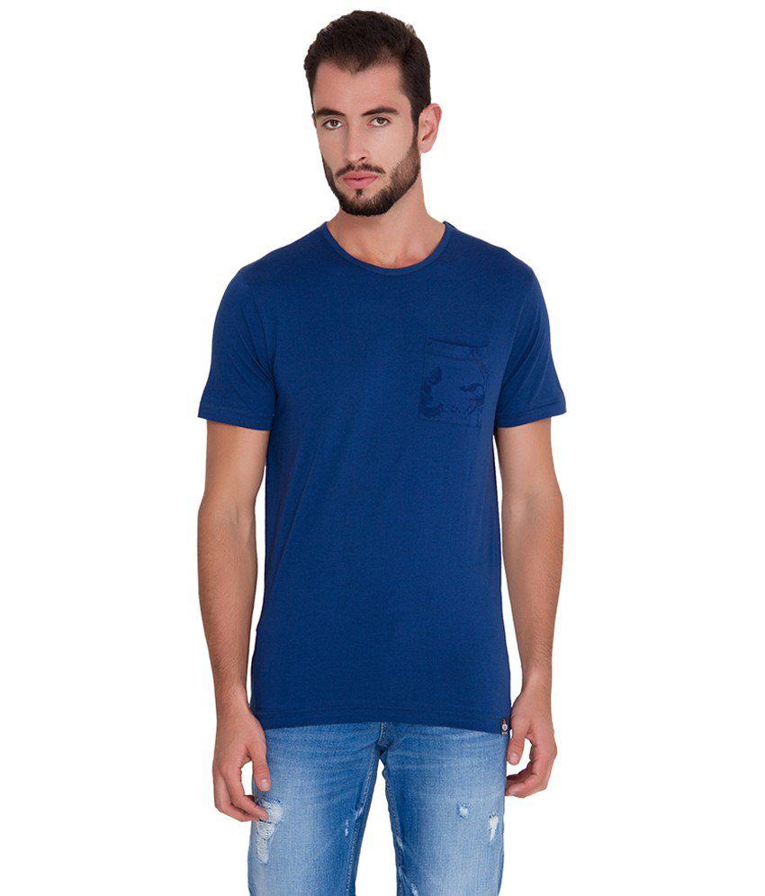 Slub Blue Basic Cotton T Shirt