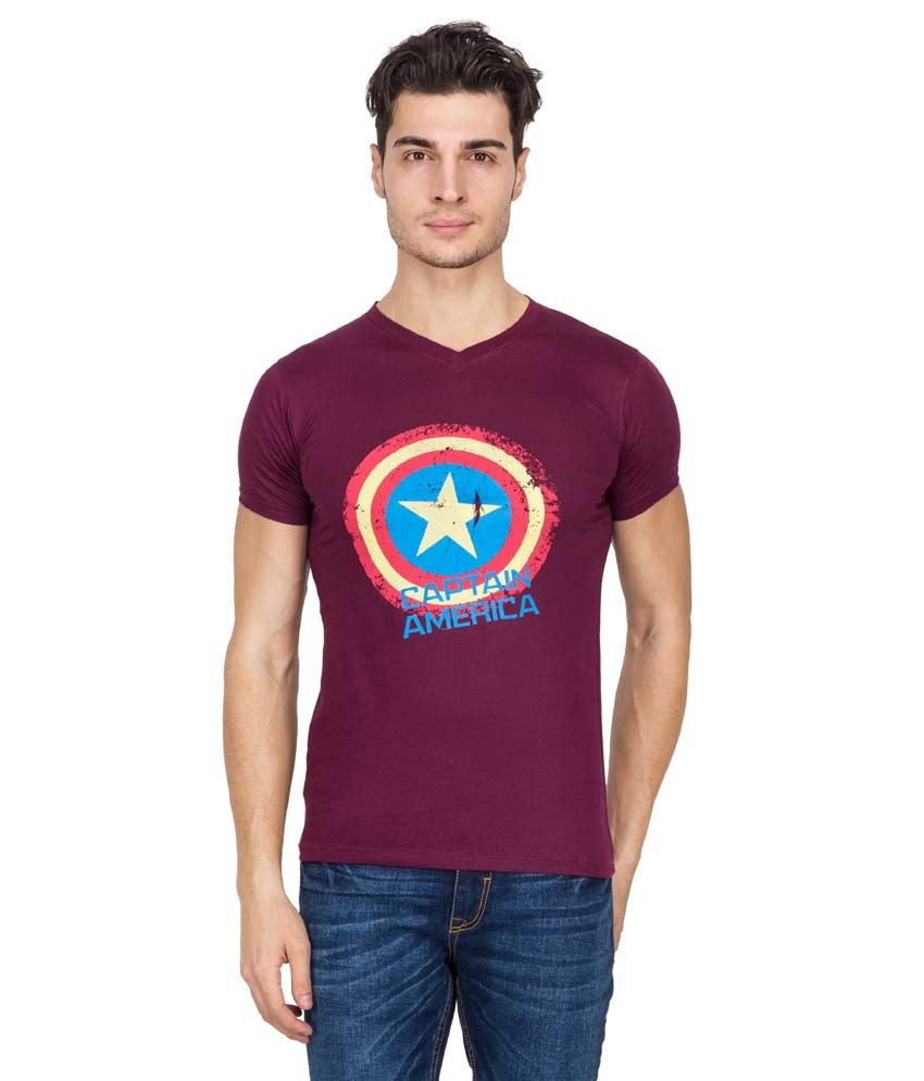 Super Heroes Maroon Cotton Blend T-shirt