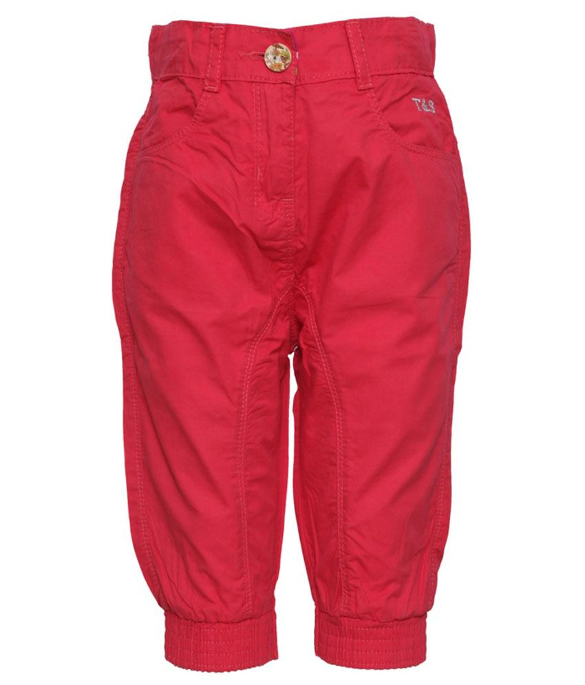 Tales And Stories Red Denim Capri