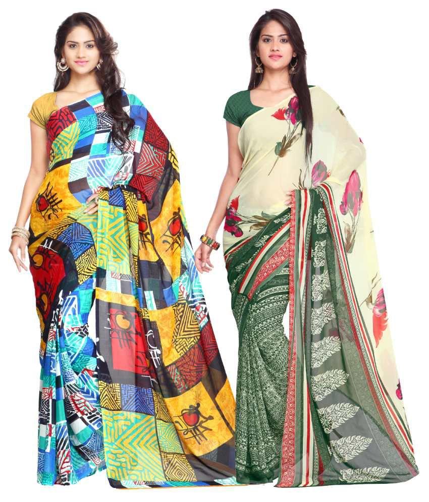 Looklady Multicolour Semi Chiffon Pack of 2