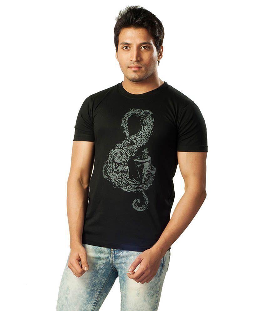 Voce Round Neck Black Tshirt