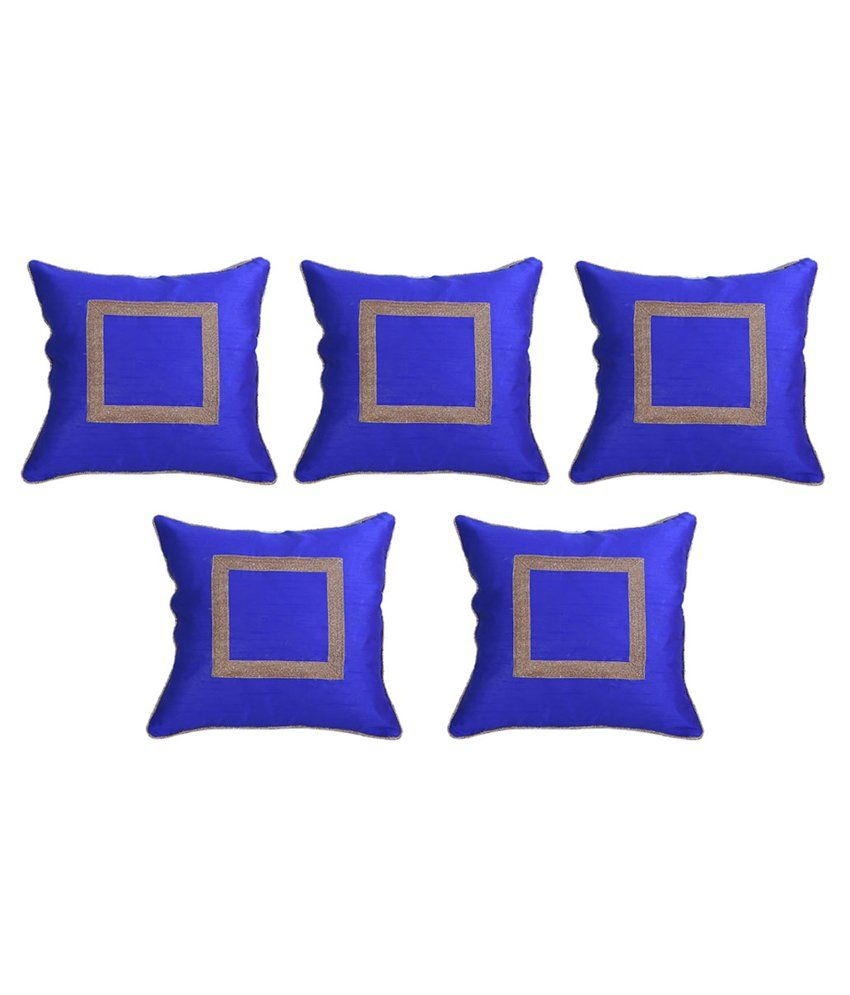 Vowsy Blue Silk Cushion Cover - Set Of 5