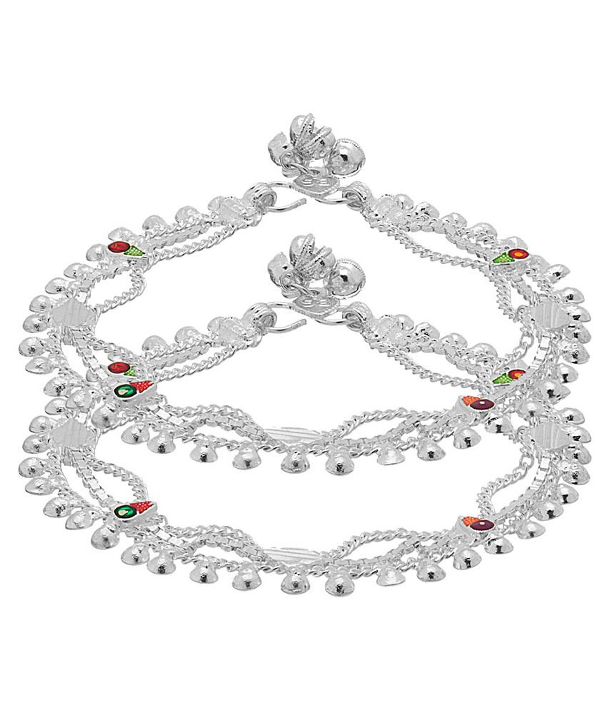 Voylla Silver Alloy Pair Of Anklets