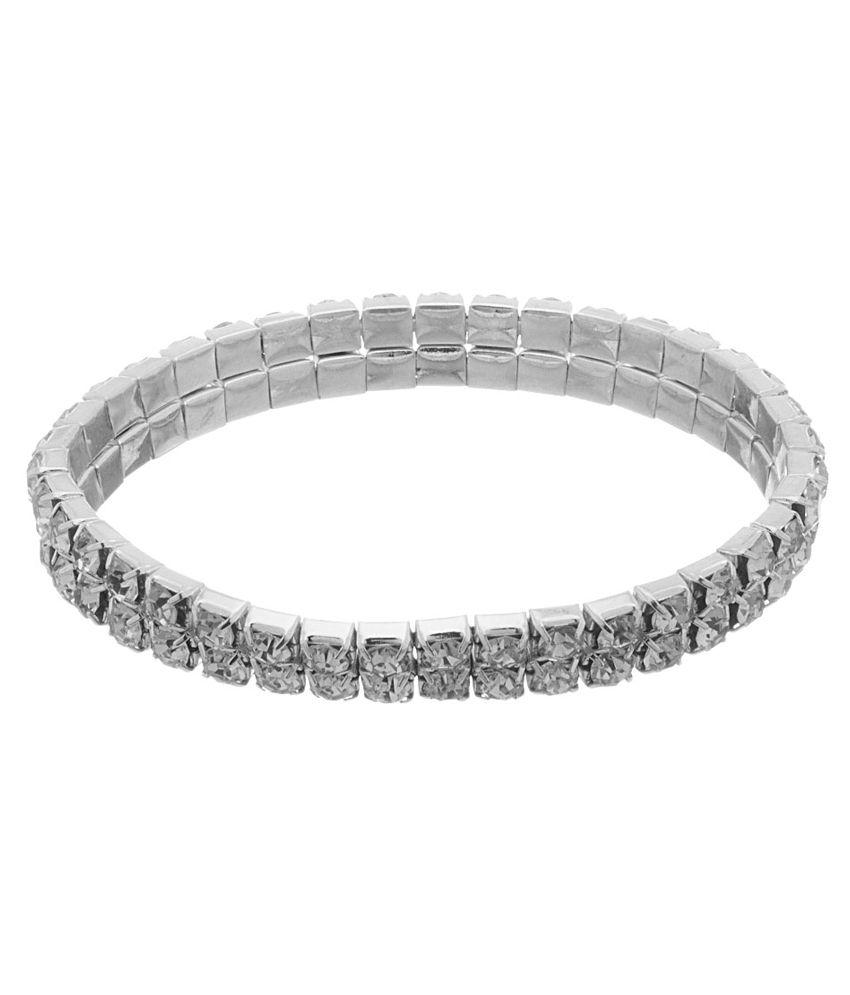 Voylla Silver American Diamond Bracelet