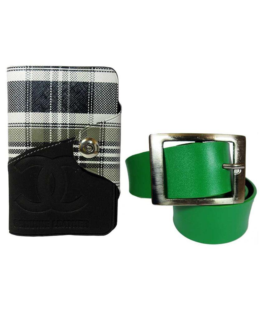 Apki Needs Green Belt with Designer Wallet for Men