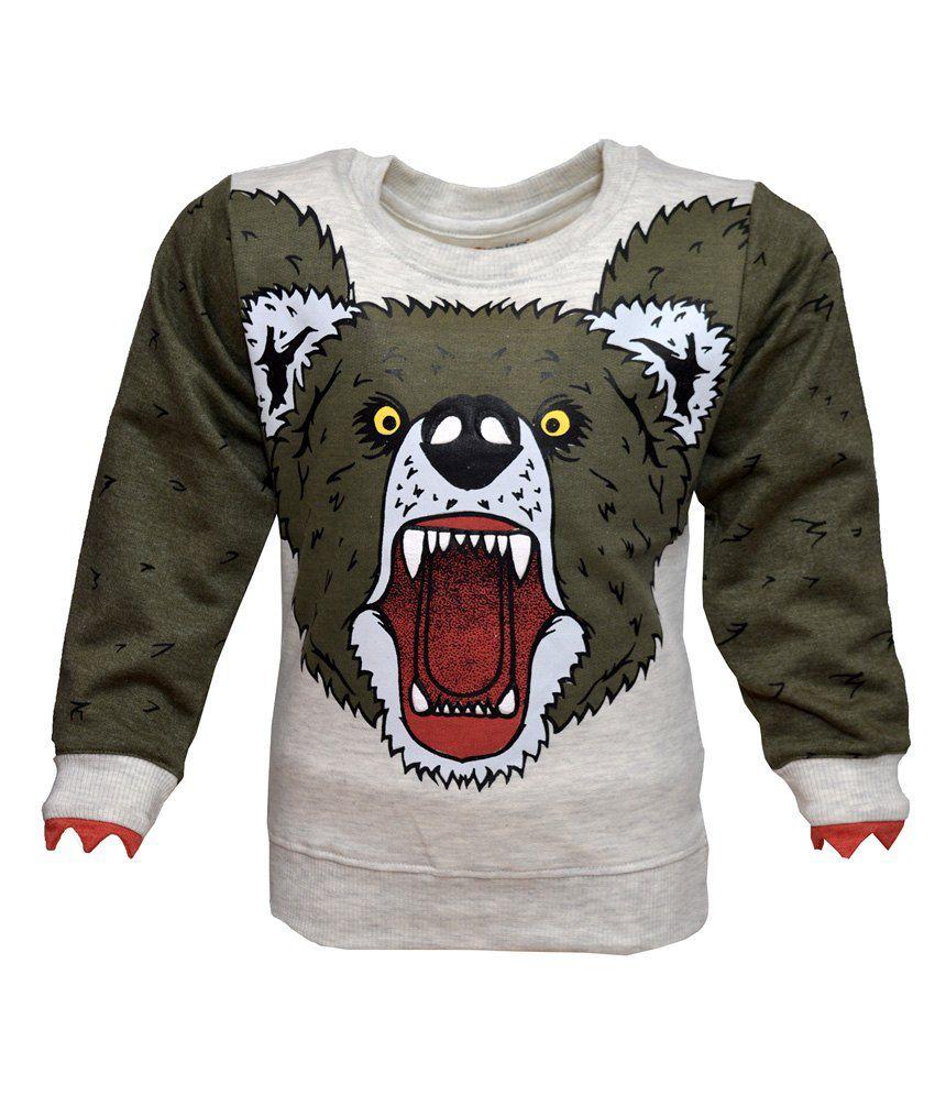 Pepito Gray Full Sleeves Fleece Round Neck Sweatshirt