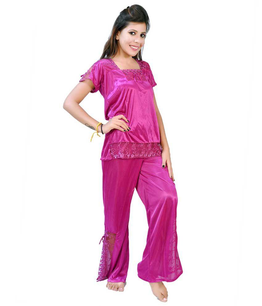 Fashion Zilla Marjenta Satin Designer Top and Payjama Set
