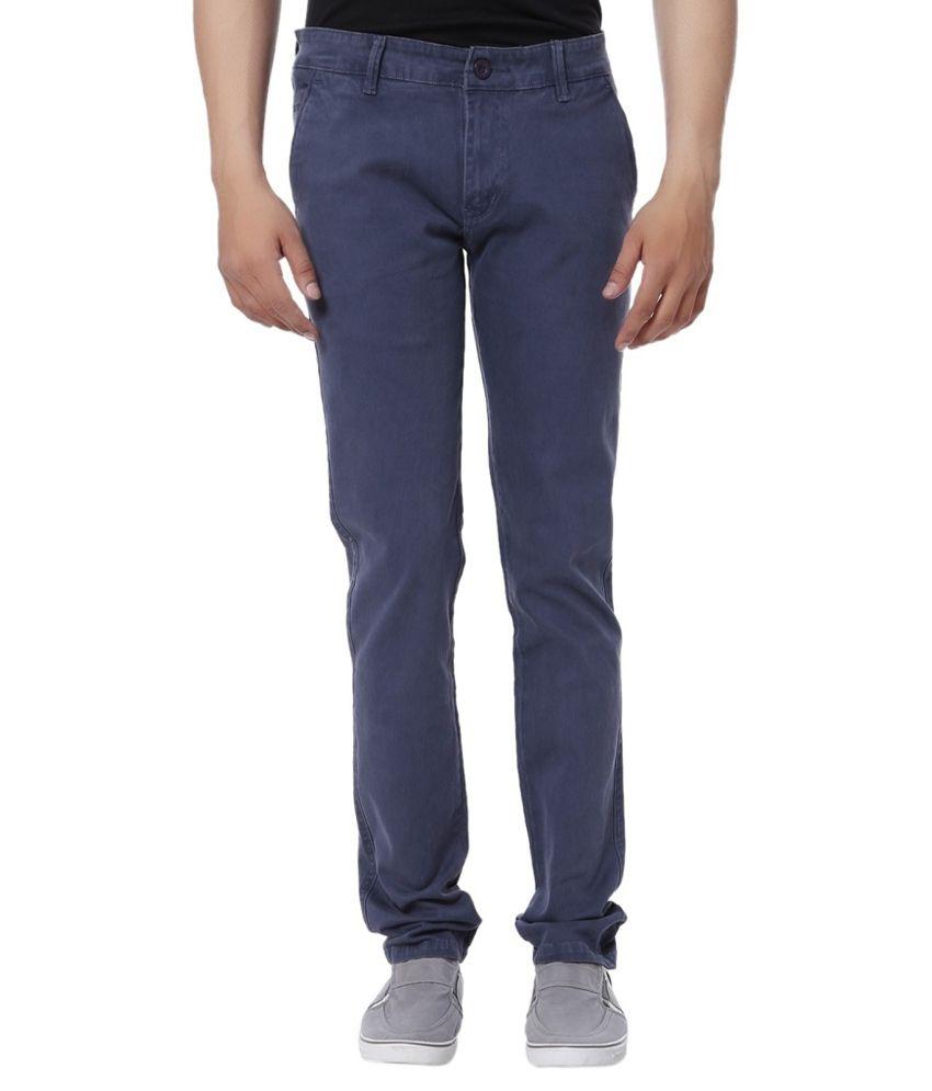 HD9 Blue Regular Fit Casual Flat Trouser