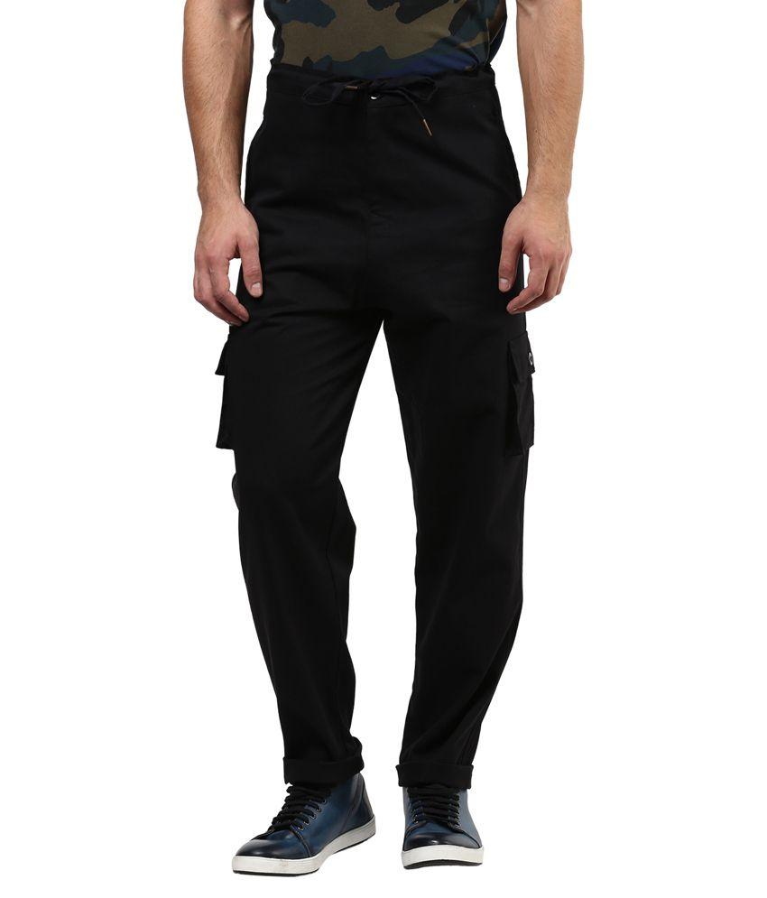 Hypernation Black Regular Fit Casual Cargos Pant