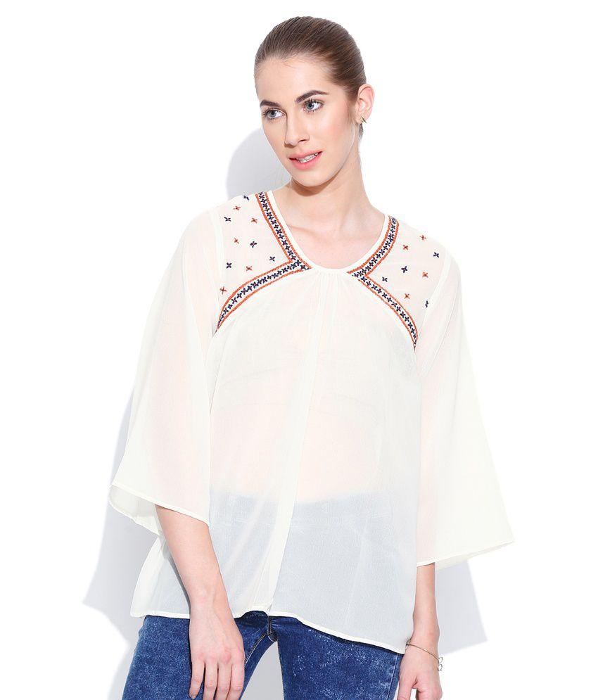 Vaak White Polyester Tunics