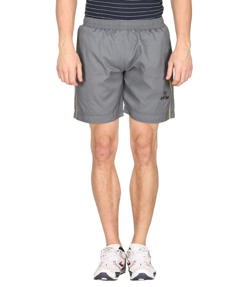 Attro Gray Polyester Short