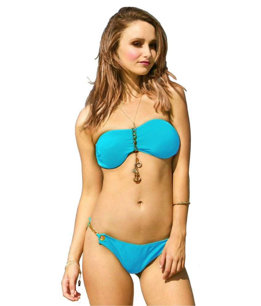 D Naked Light Blue Jewel Swim Wear Lingerie Bikini Set