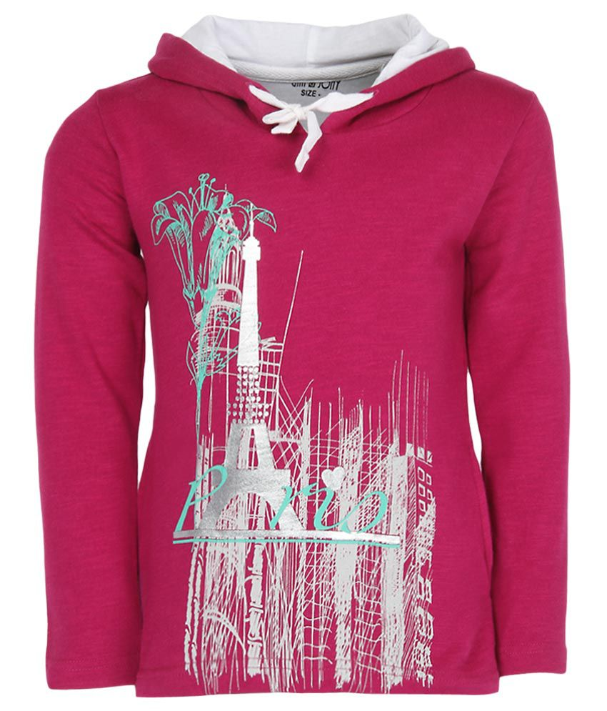 Gini & Jony Pink Printed Hooded Sweatshirt