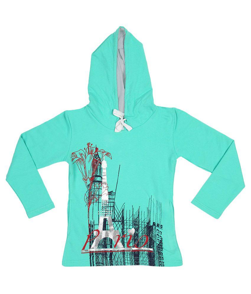 Gini & Jony Turquoise Printed Hooded Sweatshirt
