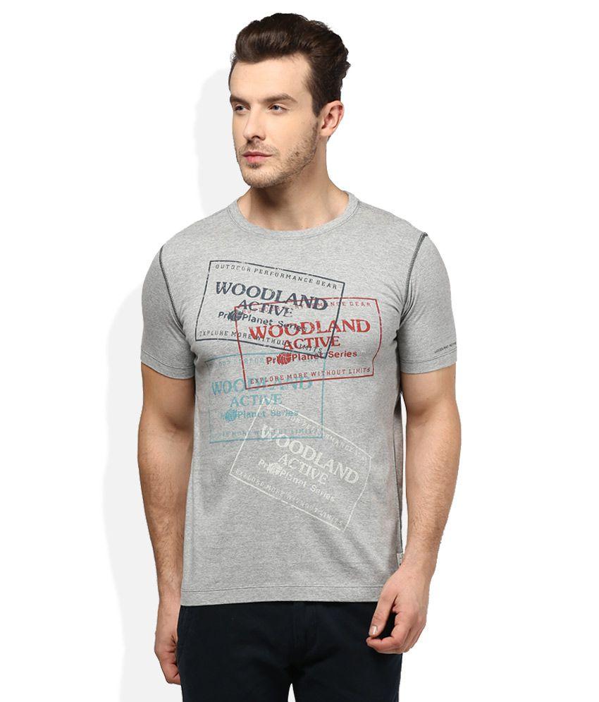 Woodland Grey Round Neck T Shirt
