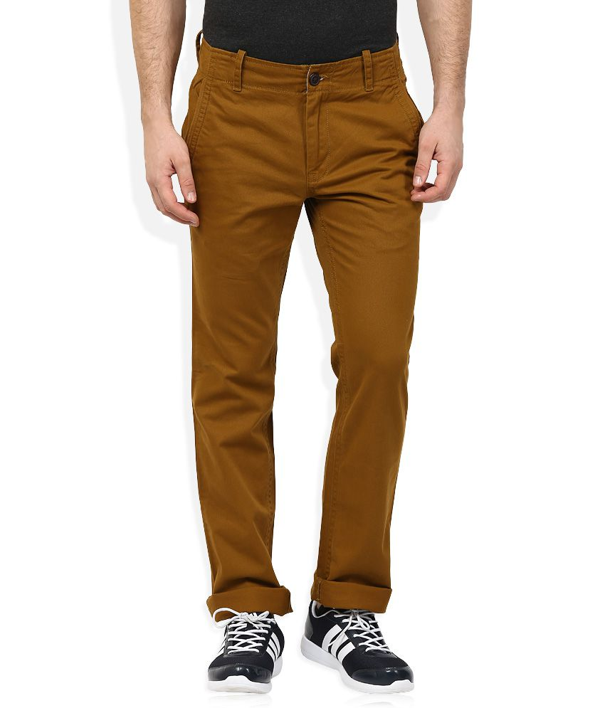 Woodland Khaki Regular Fit Flat Trousers