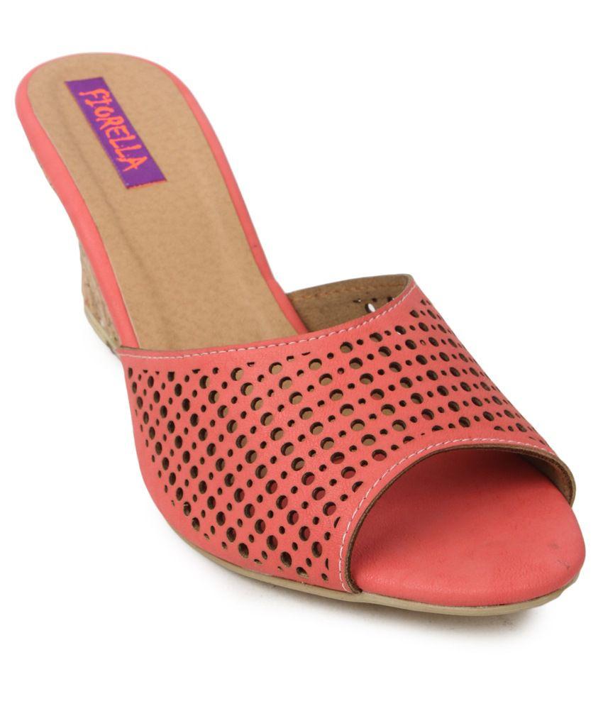 Fiorella Pink Wedges Heeled Slip-On
