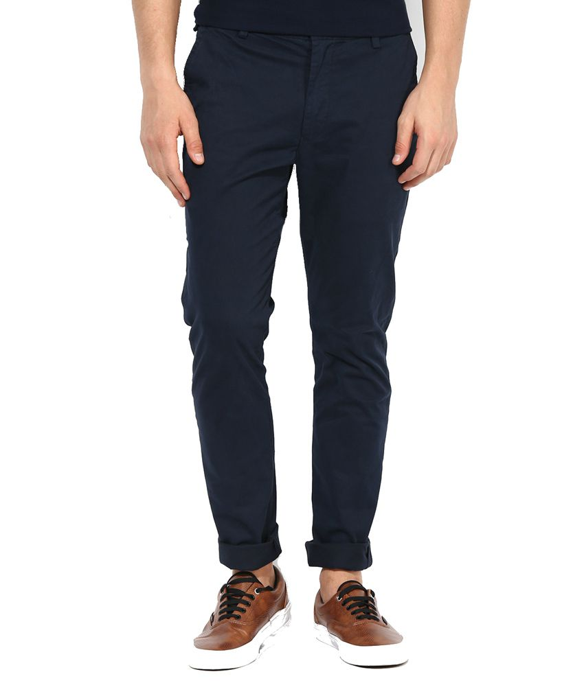 Raj Trading Navy Regular Fit Casual Flat Trouser